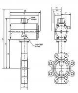 Pneumatic Lugged Butterfly Valve Dimension Diagram