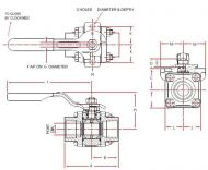 A44 Carbon Steel Ball Valve Dimension Diagram