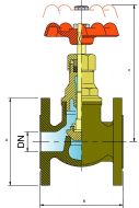 GL16F Bronze Globe Valve Dimension Diagram