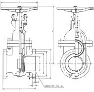 73N Flanged CI Gate Valve PN16 Dimension Diagram