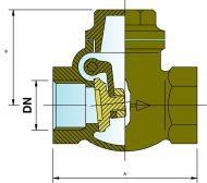 CH25 Bronze Swing Check Valve Dimension Diagram