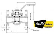 Top Entry Flanged ANSI600 Ball Valve Dimension Diagram
